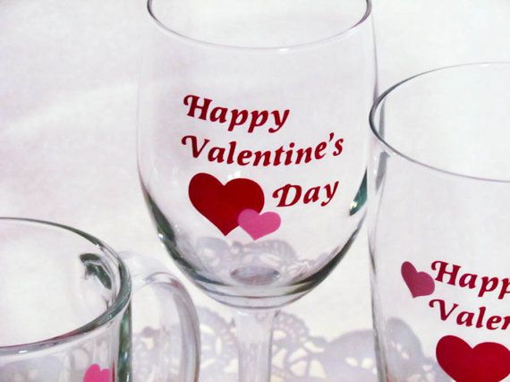 DIY Happy Valentines Day Vinyl Decals For Glass By NotableMention - Custom vinyl decals for wine glasses