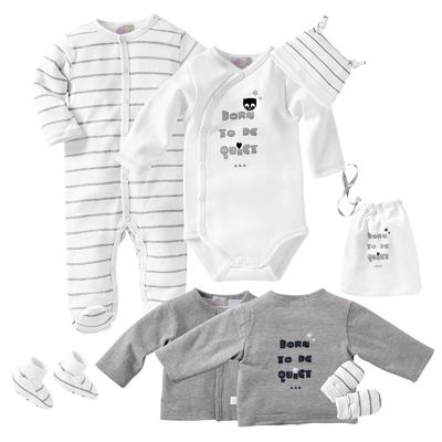 Trousseau de naissance 7 pièces bébé - Blanc   gris- Vue 1   Baby ... 607a51e82f6