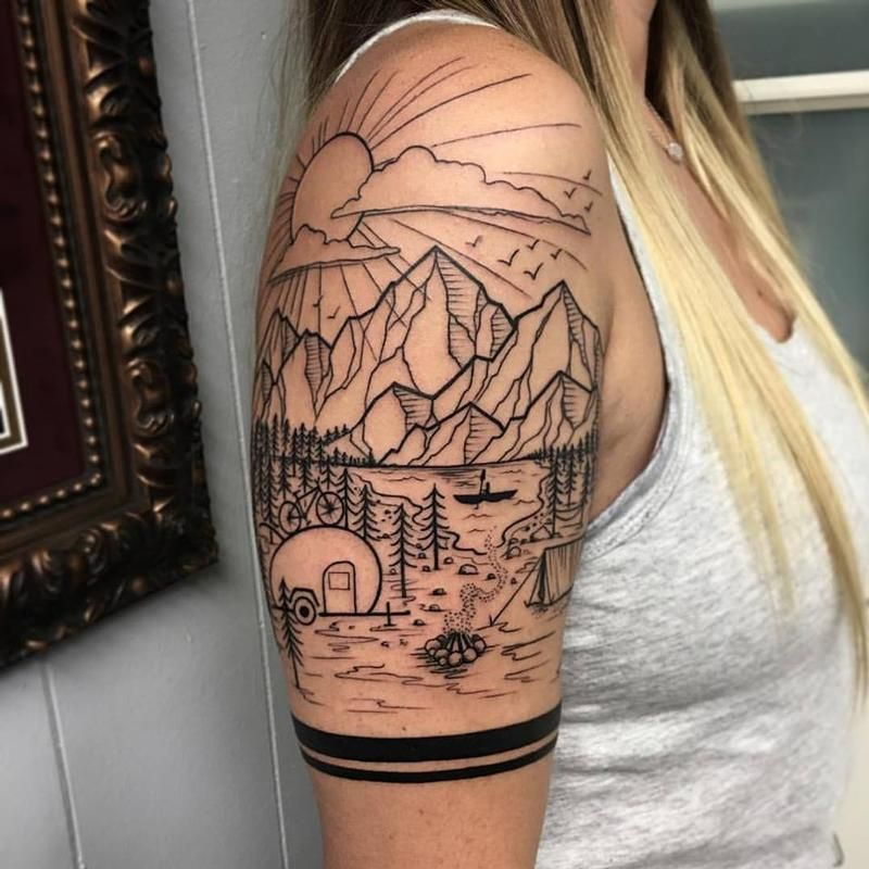 David Mushaney - Blackwork Landscape Half-Sleeve by David ... Uberhaxornova Tattoo Sleeve