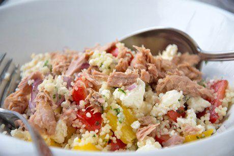 Bulgur - Salat mit Thunfisch und Feta #healthycrockpotchickenrecipes