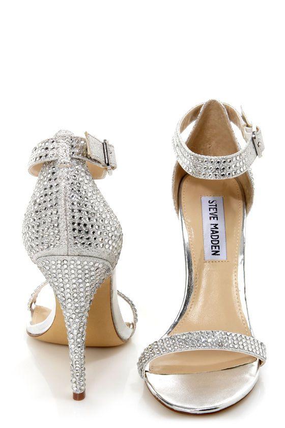 ed158998c63 Steve Madden Realov-r Silver Rhinestone Dress Sandals -  99.00