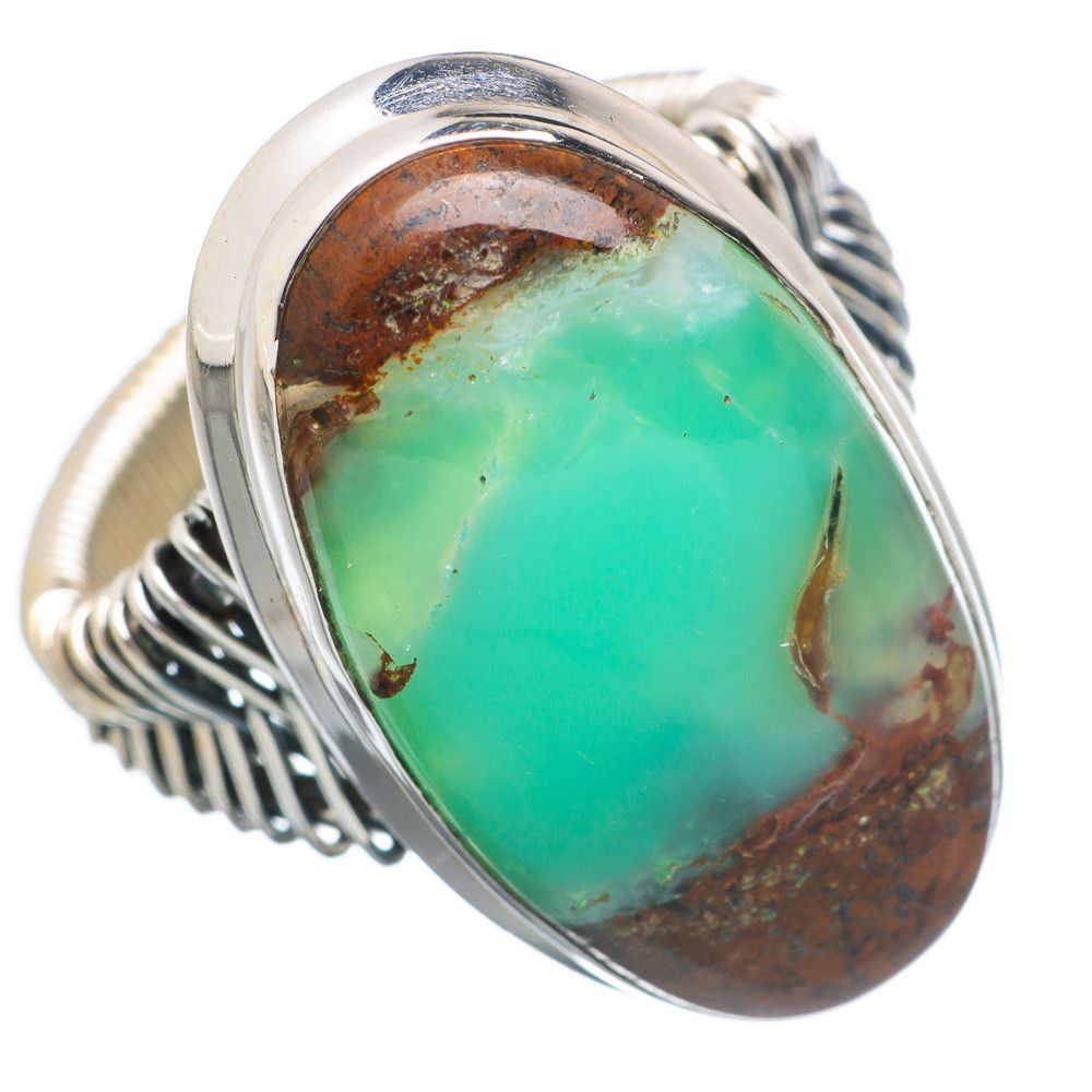 Large Boulder Chrysoprase 925 Sterling Silver Ring Size 9.75 RING744979