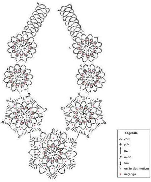 Pin de Regine Fegali en Necklaces in Crochet | Pinterest | Diciembre ...