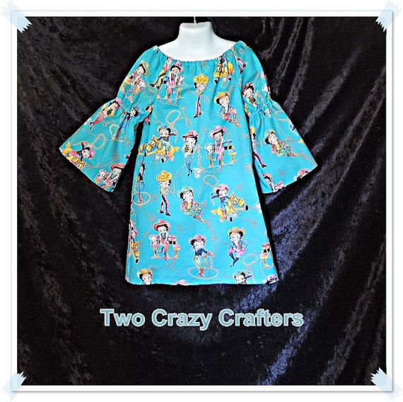 Boutique Betty Boop Peasant Dress  Youth Size by TwoCrazyCrafters, $20.00