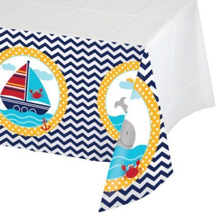 Nautical Themed Baby Shower Tablecloth; Nautical Birthday Party Tablecloth;  Unisex Shower; Ahoy Matey