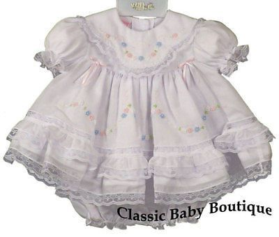 d508c4c39 Will'beth Girls White Color Heirloom Lace Frilly Dress with Bloomers  Preemie Newborn