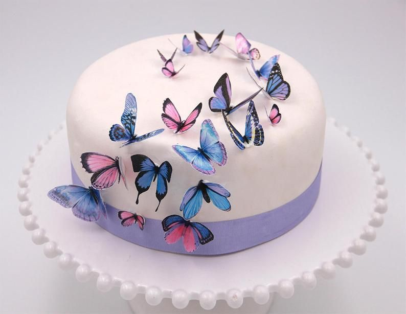 Edible wafer paper purple butterflies cake toppers cupcake