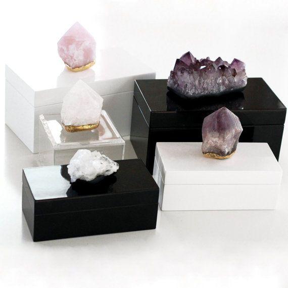Amethyst Box Quartz Box Quartz Point Box Crystal Boxes 96 00 Crystal Decor Decor Crystal Box
