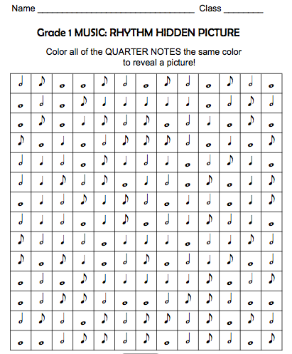 Color the quarter note to reveal the picture - rhythm