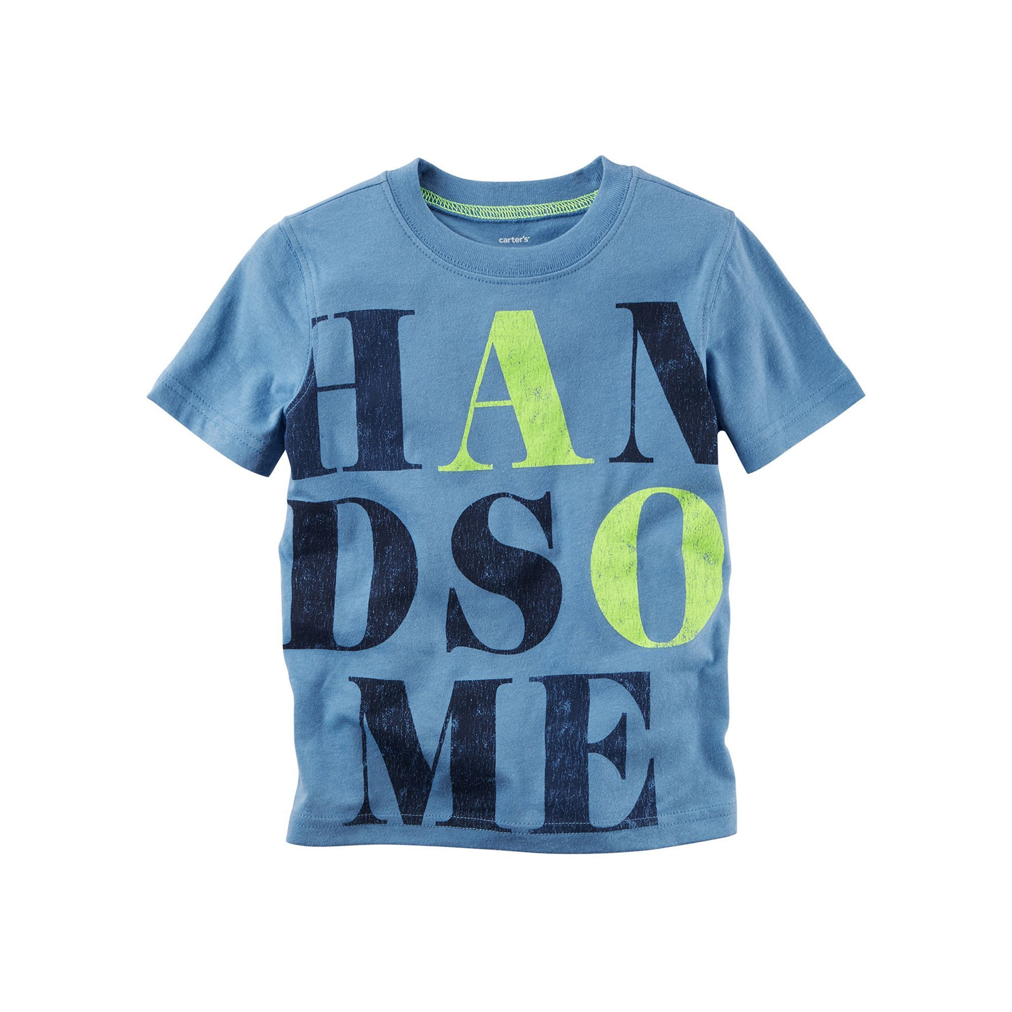 """Baby Boy Carter s Short Sleeve """"Handsome"""" Graphic Tee Size 3"""
