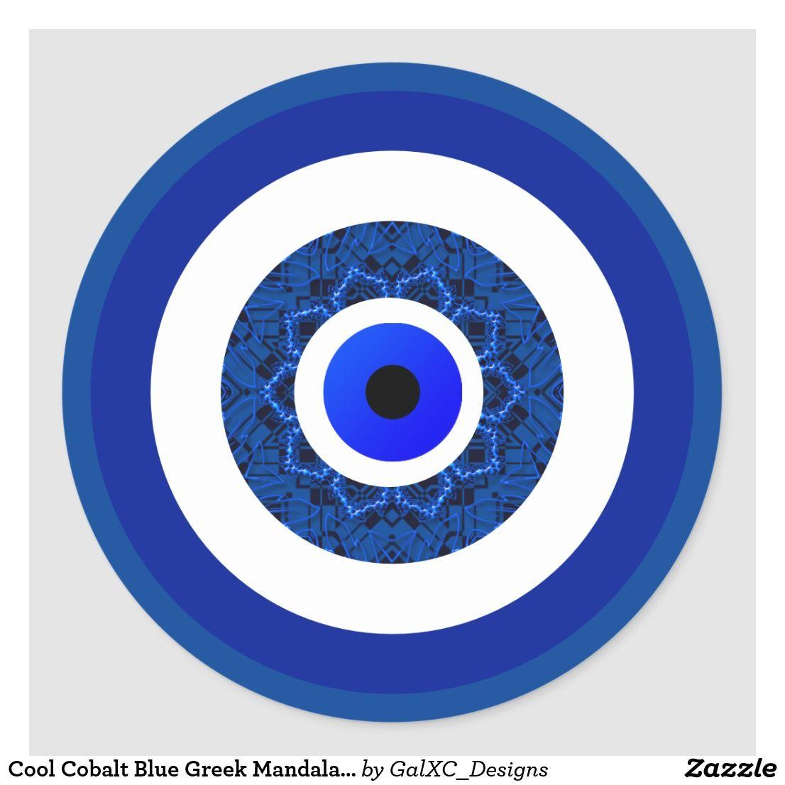 Cool Cobalt Blue Greek Mandala Nazar Evil Eye Classic Round Sticker Zazzle Com Round Stickers Mandala Deeper Shade Of Blue