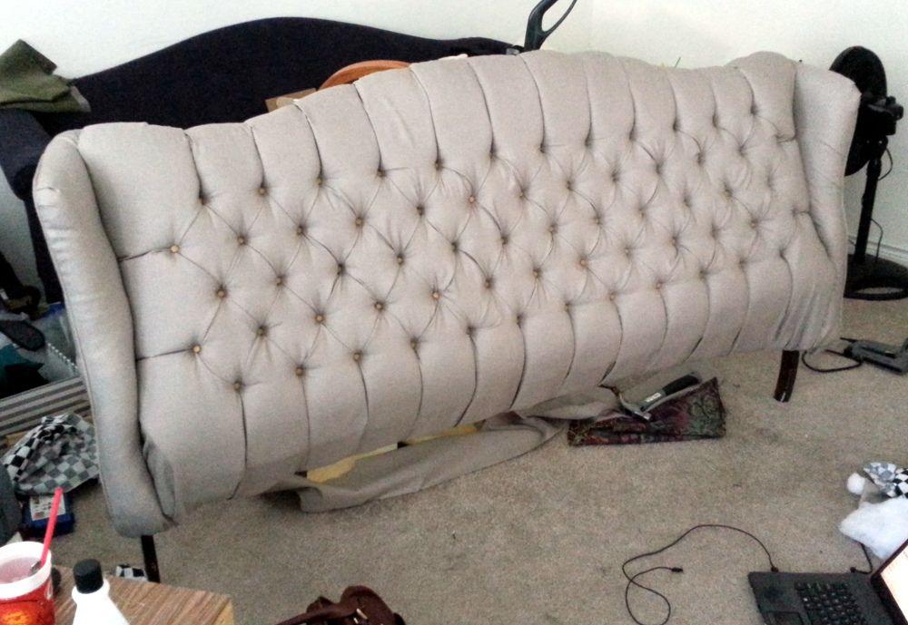 Gorgeous DIY tufted headboard from an old couch & Genius! Tufted Headboard from Old Tufted Couch | bedrooms ... pillowsntoast.com
