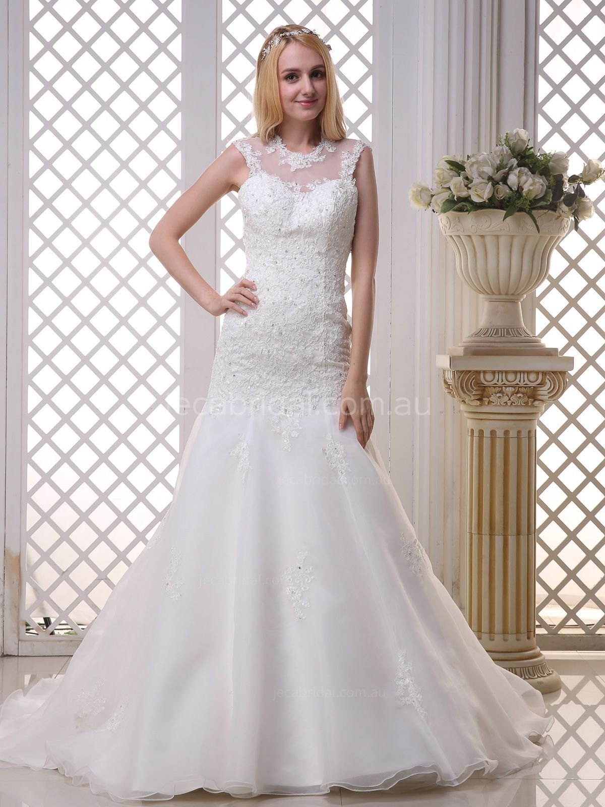 Illusion round neckline fit and flare wedding dress vintage inspired