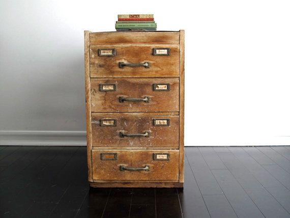 Vintage Wood Filing Cabinet - Rustic Industrial Furniture, Storage, Side  Table, Office,