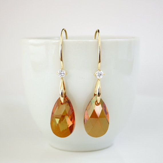 Crystal Copper Swarovski Gold Earrings Long Drops by poetryjewelry, $38.00