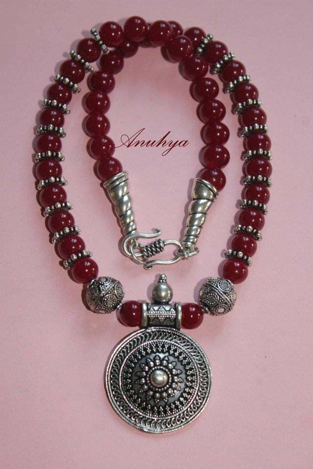 Maroon beads neckpiece with german silver pendant my first maroon beads neckpiece with german silver pendant my first creation aloadofball Choice Image