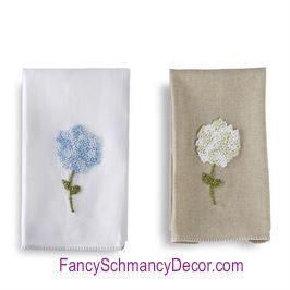 Hydrangea French Knotted Hand Towels by Mud Pie Decorative hydrangea hand towels. Choice of oatmeal or white linen hand towel. Features hand-knotted French knot hydrangea cluster with delicate blanket