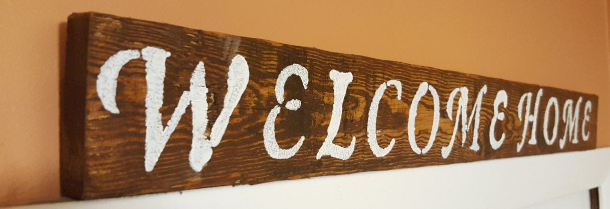 Wooden Home Signs Decor Beauteous Wooden Sign Welcome Hanging Hand Painted Stained Wood Home Review