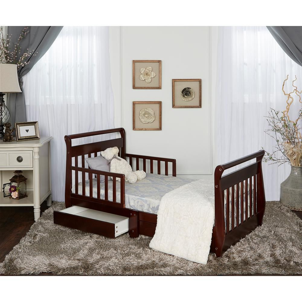 Dream On Me Espresso Toddler Adjustable Sleigh Bed with