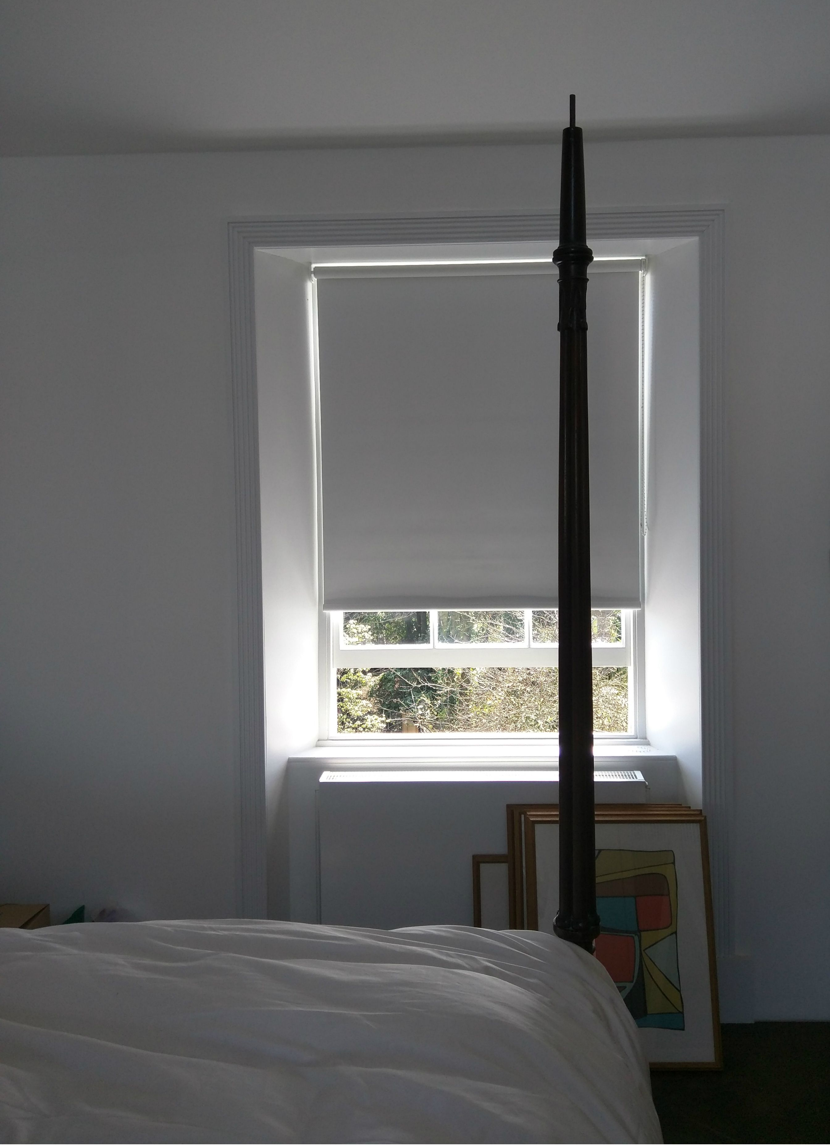 Blackout Roller Blind In Polar White | Bedroom Blind | Sash Window Blind |  Modern Interior | Made To Measure | Dalston, London