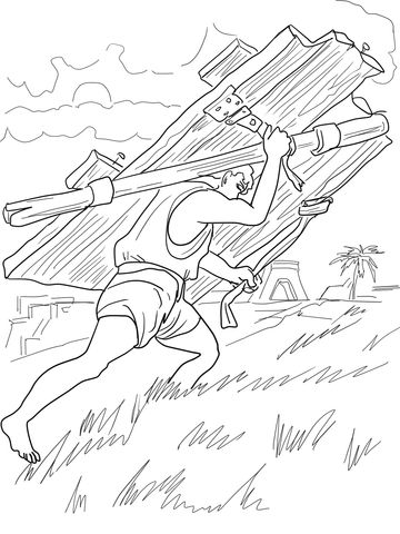 Samson Carries Gates Of Gaza Coloring Page Coloring Pages Bible
