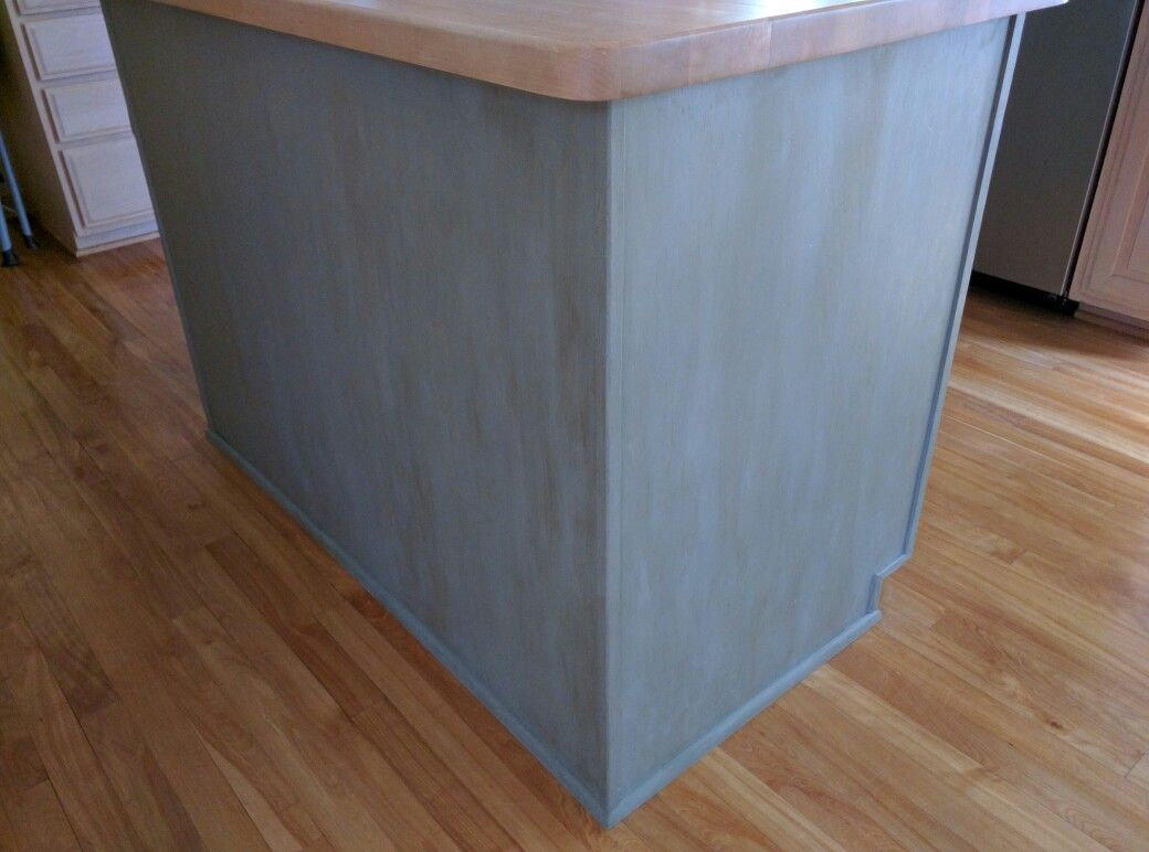 Side and back of chalk paint kitchen island