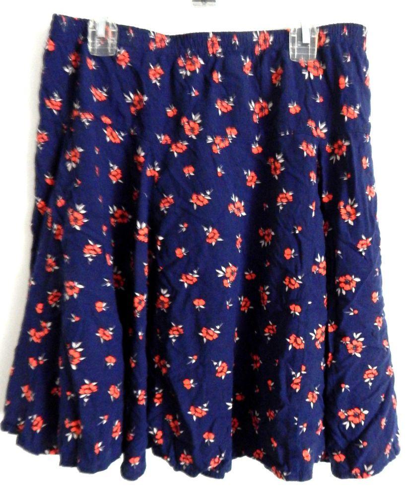 Old Navy Petite Womens Above Knee Blue Floral Skirt Size Small Skater Skirt Flow…