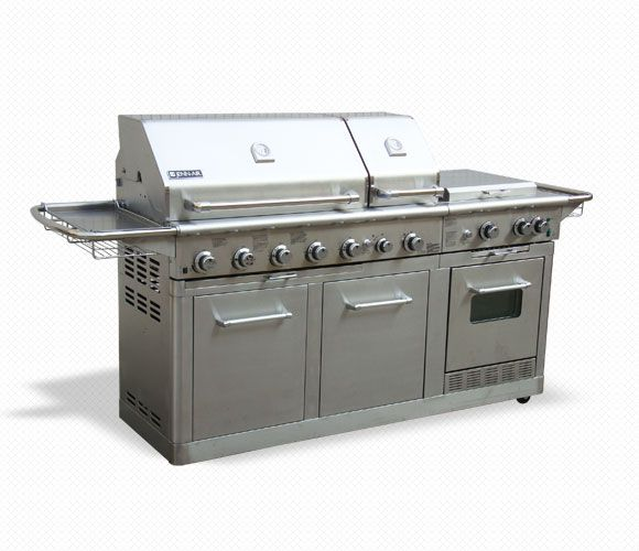Jenn Air Gas Grill Costco This Would Be Perfect For Both Me And Hubby He Can Grill On The Left Side I Can Co Outdoor Kitchen Gas Grill Outdoor Kitchen Bars