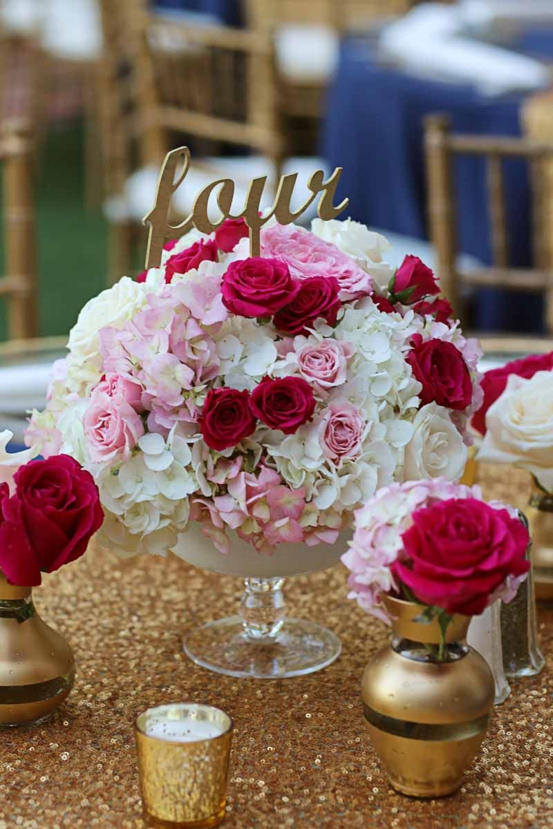 Pink And White Fl Centerpiece By Flourish Productions Elegant Navy Gold Wedding At Casa Felix In Winter Park Click Pin For More