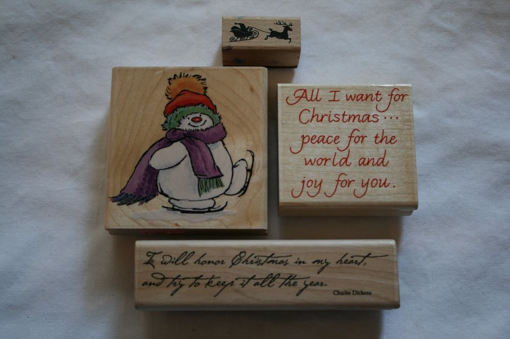 Lot of four wooden rubber stamps holiday winter snowman santa scrapbooking