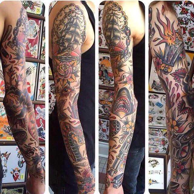 Traditional Sleeve Traditional Sleeve American Traditional Sleeve American Traditional Tattoo