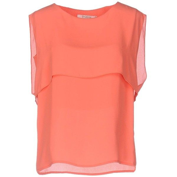 Bgn Beggon Top ($28) ❤ liked on Polyvore featuring tops, coral, sleeveless tops, red sleeveless top and red top