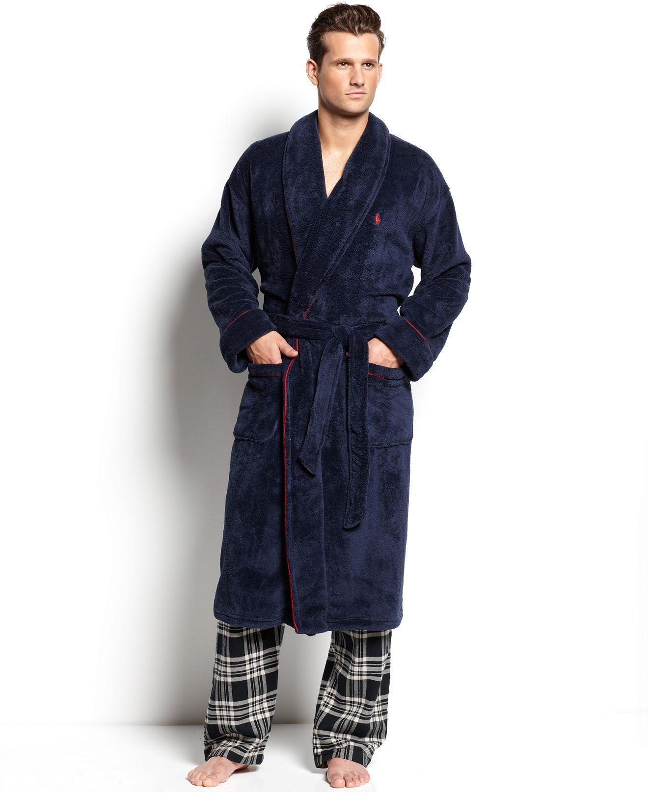 47d89024e87e Polo Ralph Lauren Men's Sleepwear, Fleece Shawl Collar Robe - Pajamas, Robes  & Slippers - Men - Macy's