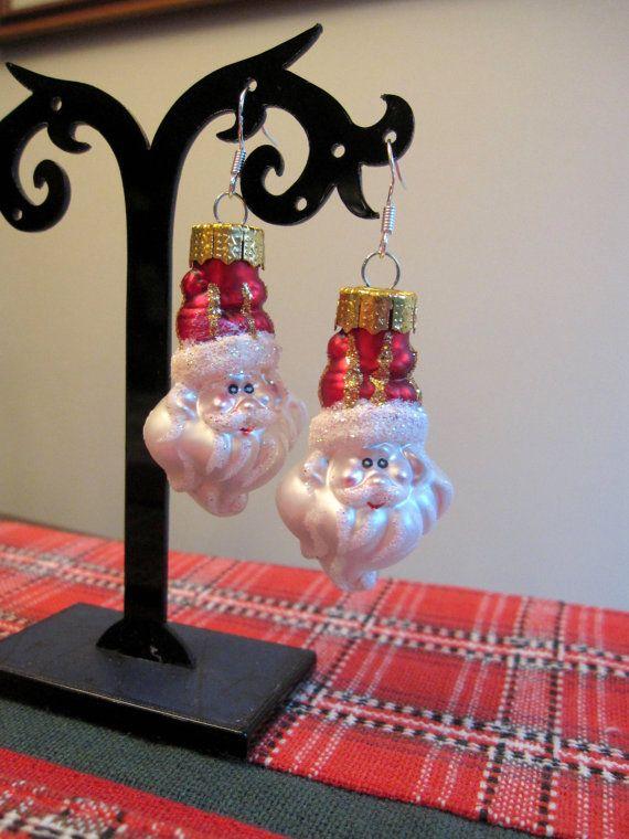 Christmas Earrings Santa Earrings by SmithNJewels on Etsy
