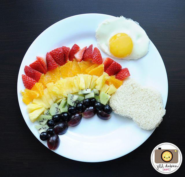 Way cute! Fruit Rainbow with Egg Sun