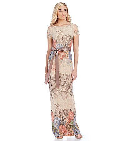 0445019608f Adrianna Papell Petite Matelasse Column Gown  Dillards