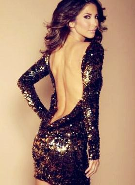 Black Sexy Dress - Black and Gold flip sequin
