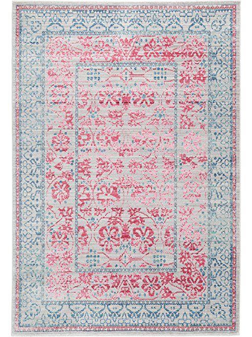benuta 4053894690655 Visconti Teppich, Kunstfaser, grau   rosa - teppiche für die küche