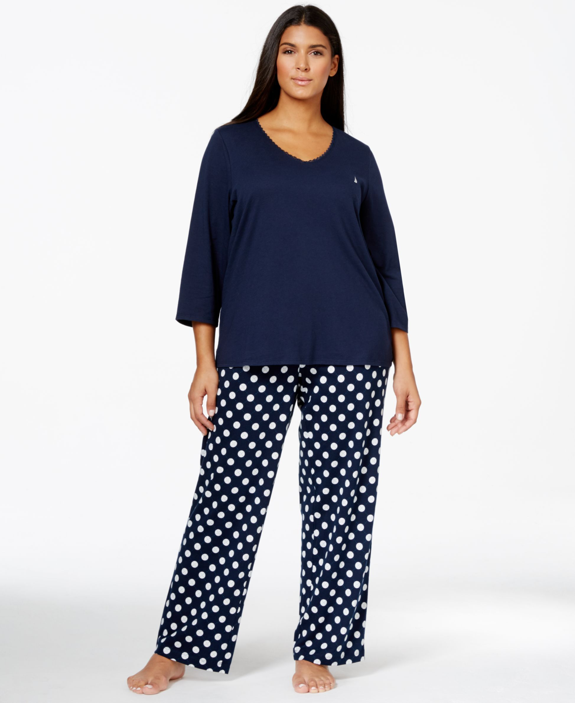 16e921a9570a Nautica Plus Size Solid Top and Printed Pajama Pants Set