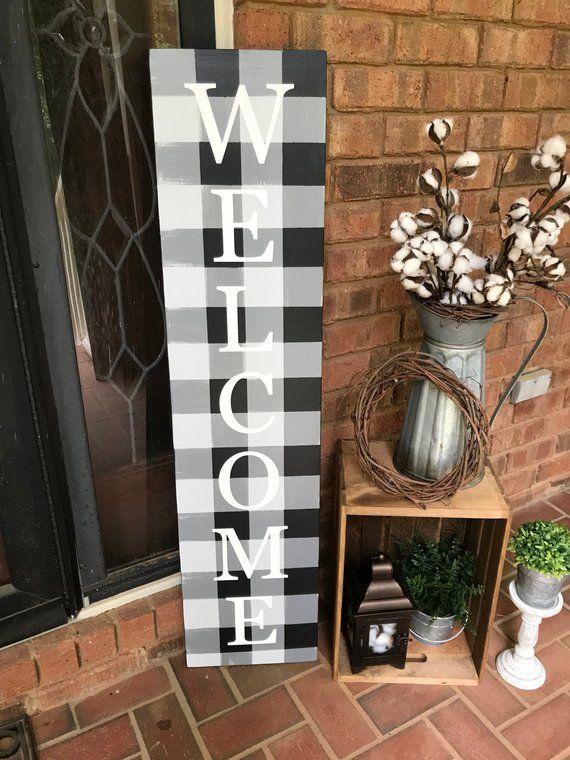 4' Welcome Porch Sign, Black Buffalo Plaid Decor, Buffalo Check, Vertical Porch Sign, Farmhouse Porch Sign Decor, Christmas Porch Decor