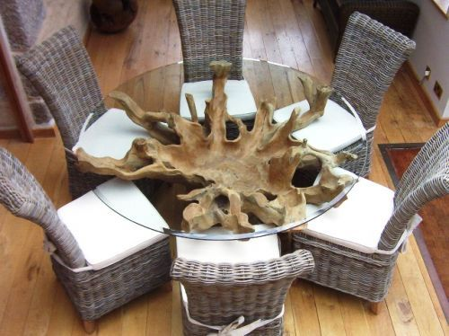 Reclaimed Teak Root And Natural Wicker Dining Set Wicker Dining Set Dining Table Glass Dinning Table