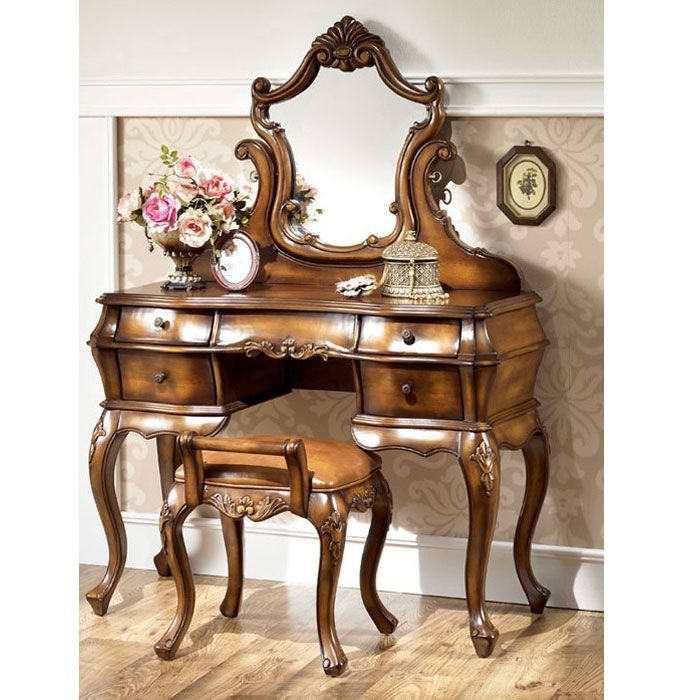 Provincial Vanity Set | French Furniture | Mahogany Antique . - Provincial Vanity Set French Furniture Mahogany Antique