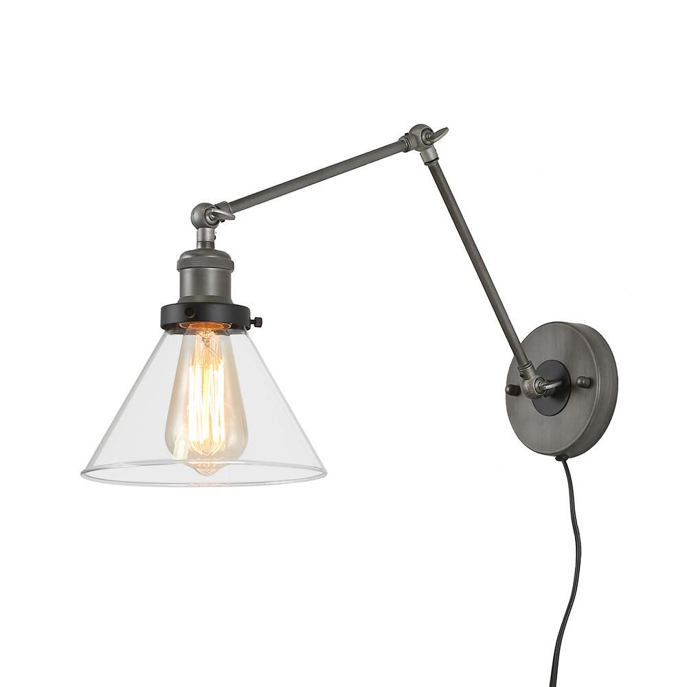 Lnc Adjustable 1 Light Black Plug In Or Hardwire Modern Industrial Swing Arm Wall Sconce With Clear Glass Shade A03467 The Home Depot Adjustable Wall Lamp Adjustable Wall Sconce Plug In Wall Lamp