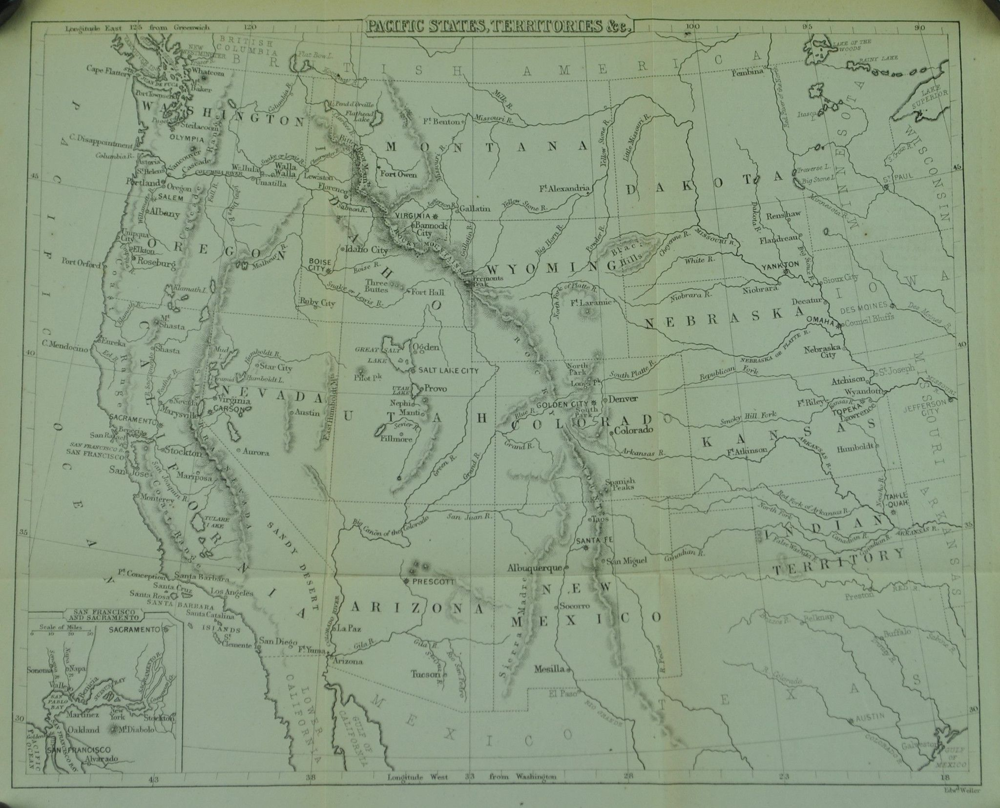 Pacific States Territories Western United States Antique Map - Us map 1867
