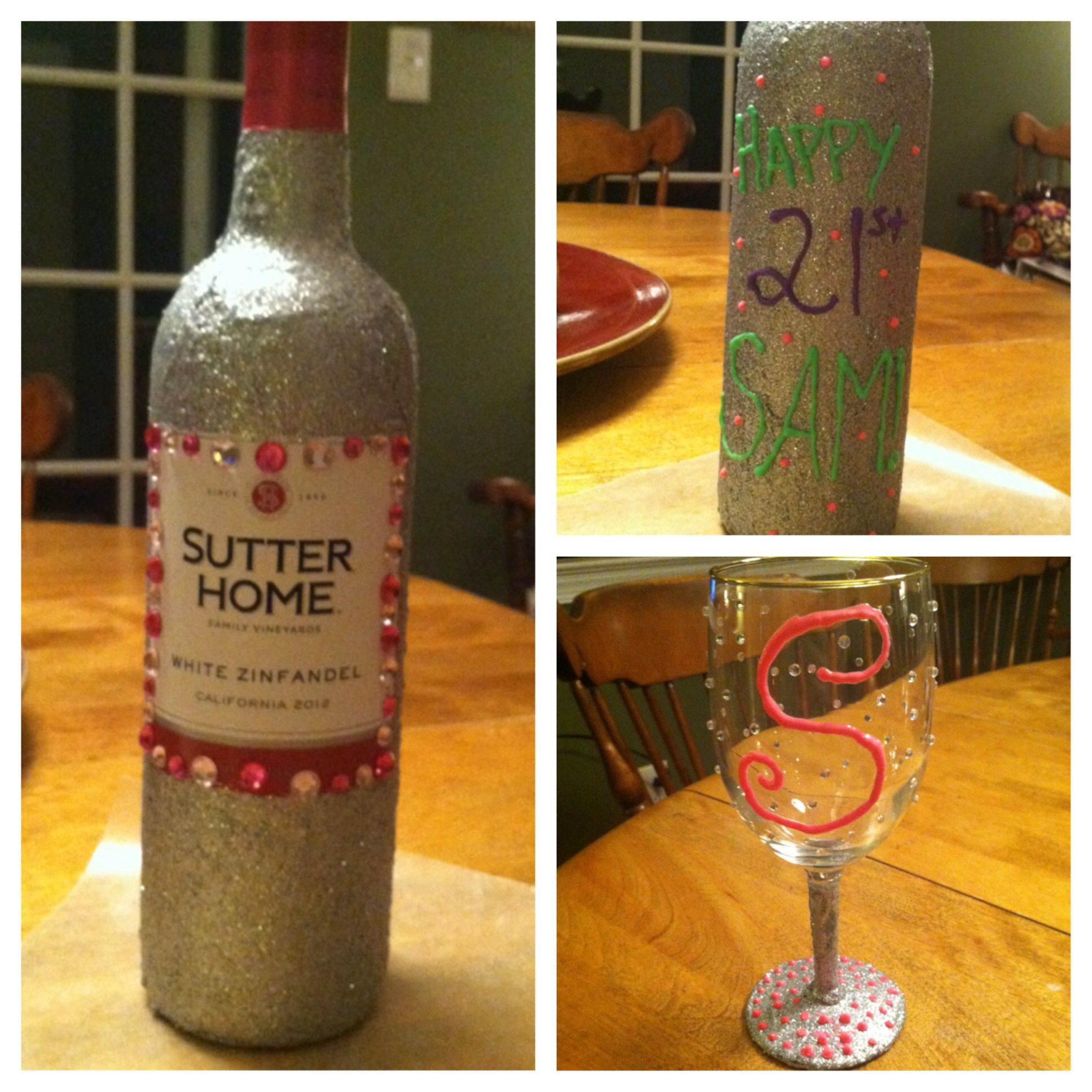 Mod Podged Wine Bottle And Glass
