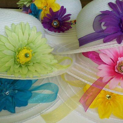 Another Hat Decorating Idea Dollar Store Hats Plus Fabric Flowers