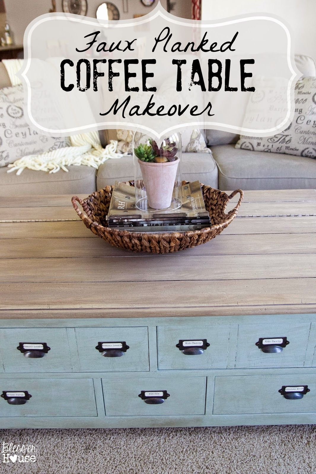 Faux Planked Coffee Table Makeover Card Catalog Style Coffee