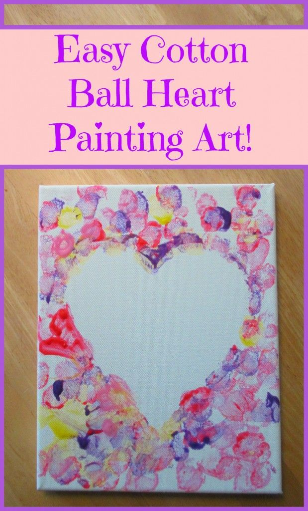 Cotton Ball Heart Painting Crafts For