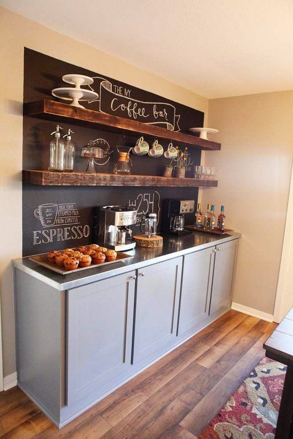 How To Organize Home Coffee Bar Kitchen Ideas Chalkboard Wall Open Shelves Coffee Bar Home Coffee Bars In Kitchen Diy Coffee Bar