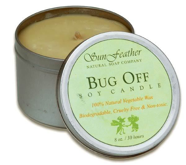 Bug Off soy candle - all natural, no DEET, still repels insects.